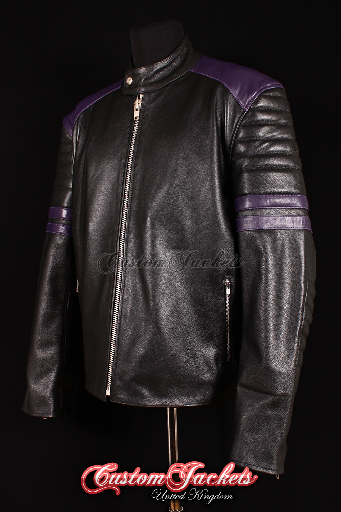 Men's PROJECT MAYHEM Black Lambskin with Purple Stripe Movie Film Leather Jacket