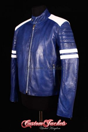 Men's PROJECT MAYHEM Blue Washed Lambskin with White Stripe Film Movie Leather Jacket