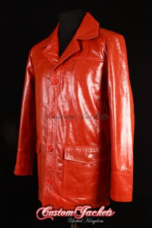 Men's FIGHT CLUB Red Glazed Lambskin Real Leather Brad Pitt Film Movie Jacket
