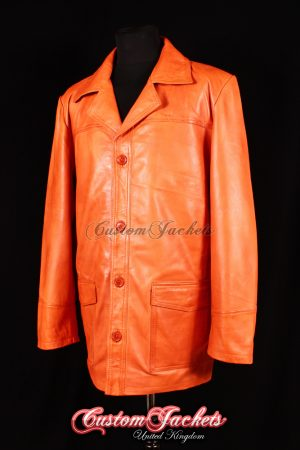 Men's FIGHT CLUB Orange Washed Real Soft Lambskin Leather Film Movie Jacket