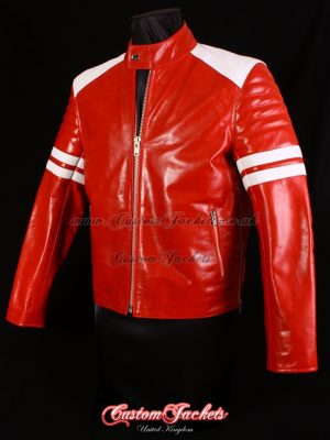 Men's PROJECT MAYHEM Red Glazed Lambskin with White Stripe Fight Club Movie Film Leather Jacket
