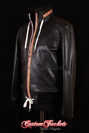 Men's BECKS Black Lambskin Red & Yellow Piping Real Leather Hip Hop Style Jacket