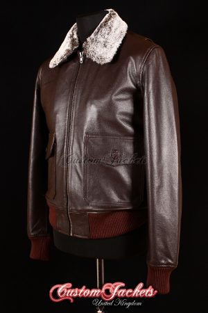 Men's G1 AVIATOR Brown Cowhide Real Genuine Leather Bomber Fur Collar Jacket