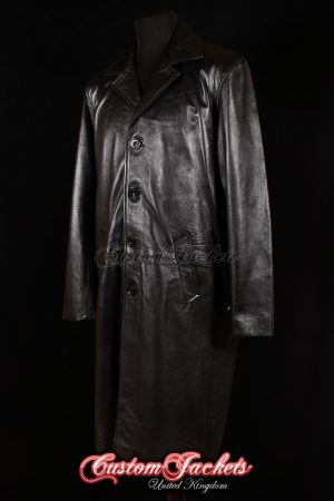 Men's AL CAPONE Black Knee Length Real Lambskin Leather Jacket Reefer Trench Coat