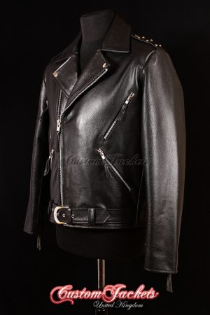Men's GHOST RIDER STUDDED Black Cowhide Real Leather Motorcycle Biker Film Movie Jacket
