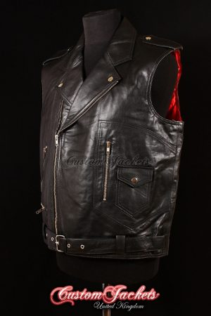 Men's HELL RIDER Black Lambskin with Red Lining Real Leather Motorcycle Biker Vest Style Waistcoat