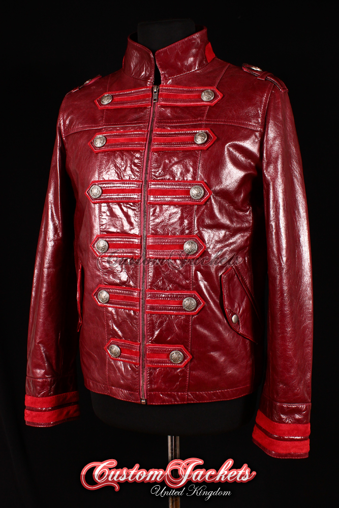 Men's MILITARY HERITAGE Red Glazed & Suede Lambskin Leather Parade Steampunk Rock Jacket