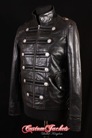 Men's MILITARY HERITAGE Black Glazed & Suede Lambskin Leather Classic Parade Steampunk Rock Jacket