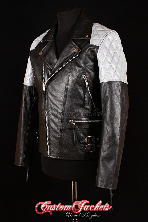 Men's HIGHWAY Black & Grey Cowhide Motorcycle Motorbike Cruiser Biker Leather Jacket