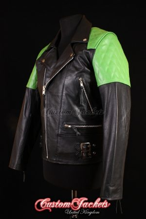 Men's HIGHWAY Black & Green Cowhide Motorcycle Motorbike Cruiser Biker Real Leather Jacket
