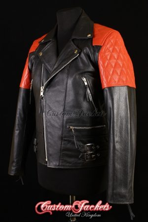 Men's HIGHWAY Black & Red Cowhide Motorcycle Motorbike Cruiser Biker Real Leather Jacket