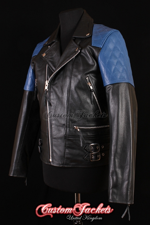 Men's HIGHWAY Black & Blue Cowhide Motorcycle Motorbike Cruiser Biker Genuine Leather Jacket