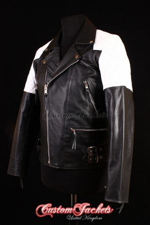 Men's HIGHWAY Black & White Cowhide Motorcycle Motorbike Cruiser Biker Genuine Leather Jacket