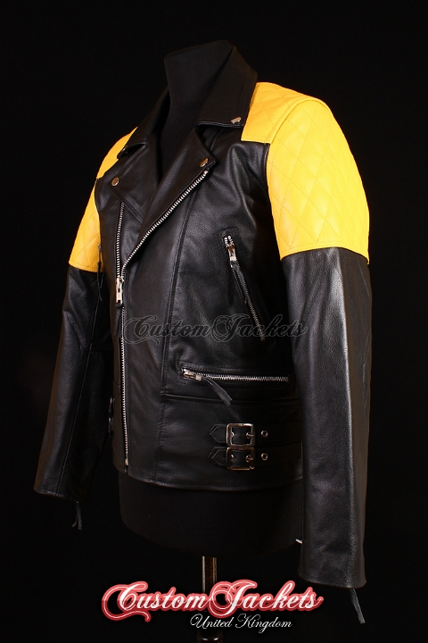 Men's HIGHWAY Black & Yellow Cowhide Motorcycle Motorbike Cruiser Biker Genuine Leather Jacket