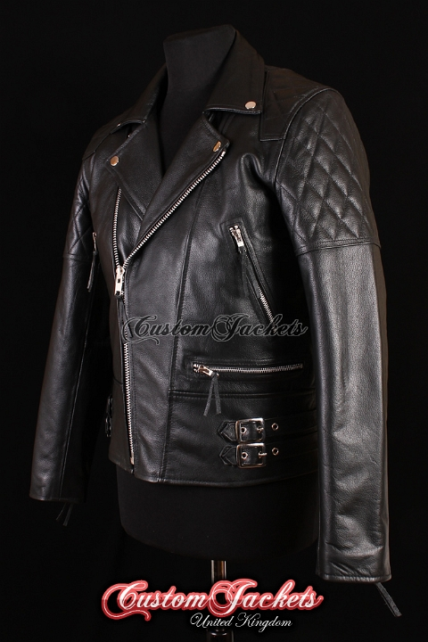 Men's HIGHWAY Black Cowhide Motorcycle Motorbike Cruiser Biker Genuine Leather Jacket