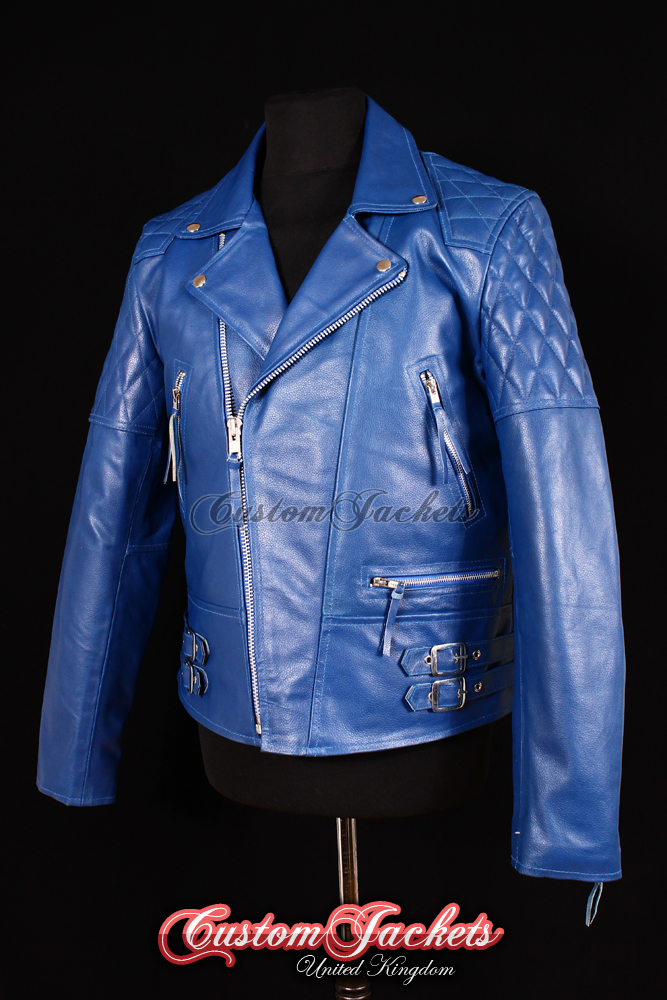 Men's HIGHWAY Blue Cowhide Motorcycle Motorbike Cruiser Biker Genuine Leather Jacket