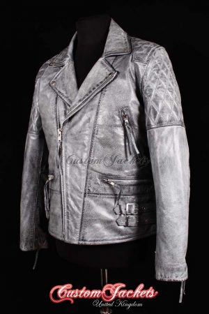 Men's HIGHWAY Grey Washed Vintage Cowhide Motorcycle Cruiser Biker Real Leather Jacket