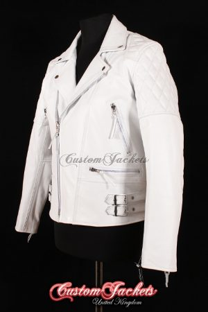Men's HIGHWAY White Cowhide Motorcycle Motorbike Cruiser Biker Real Leather Jacket