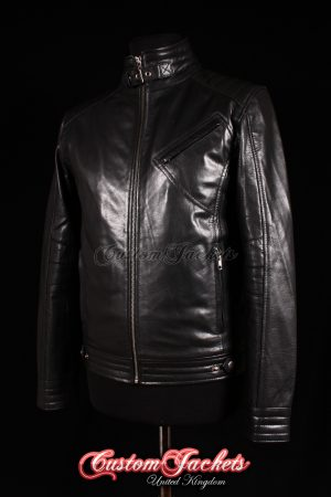 Men's BOURNE LEGACY Black Lambskin Movie Film Real Leather Jacket