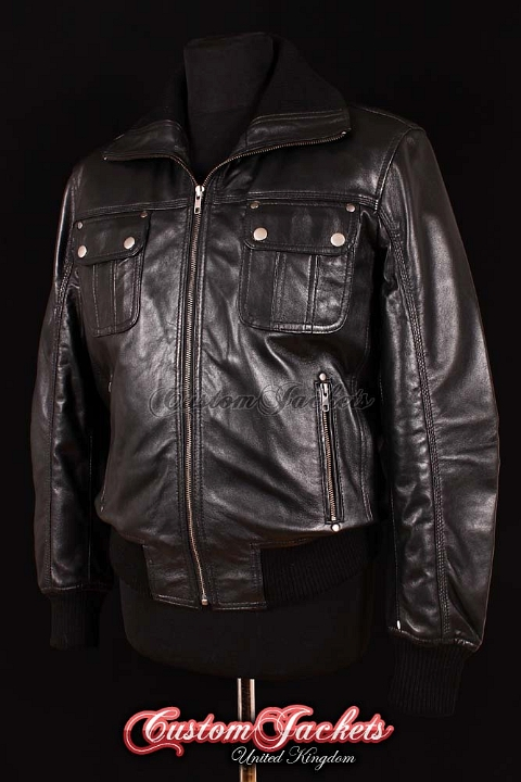 Men's HORNET AVIATOR Black Lambskin Bomber Fighter Jet Pilot Soft Leather Jacket