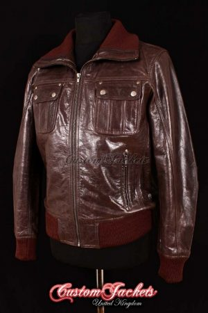 Men's HORNET AVIATOR Brown Glazed Lambskin Bomber Fighter Pilot Real Leather Jacket