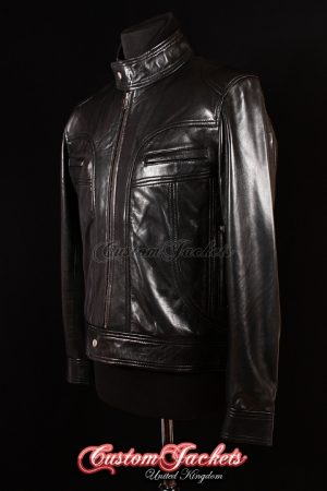 Men's MATTHEW Black Lambskin Ghosts of Girlfriends Past Leather Movie Film Jacket