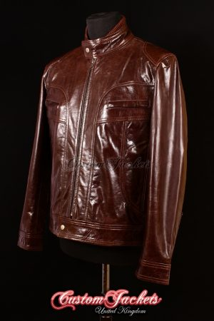 Men's MATTHEW Brown Glazed Ghosts of Girlfriends Past Leather Movie Film Jacket
