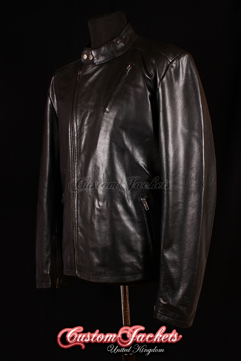 Men's IRON MAN Black Lambskin Real Leather Hollywood Movie Film Style Jacket