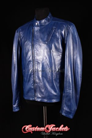 Men's IRON MAN Blue Washed Lambskin Real Soft Leather Movie Film Style Jacket