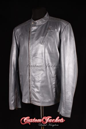 Men's IRON MAN Grey Lambskin Real Genuine Leather Movie Film Style Jacket