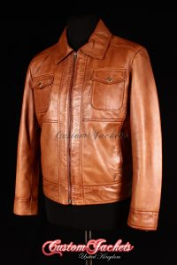 Men's ITALIANO Tan Washed Lambskin Real Soft Leather Classic Designer Casual Jacket