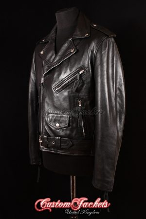 Men's BRANDO REGULAR FIT Black Lambskin Real Genuine Soft Leather Motorcycle Biker Jacket