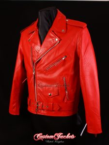 Men's BRANDO Red Cowhide Classic Motorcycle Motorbike Biker Cruiser Real Leather Jacket