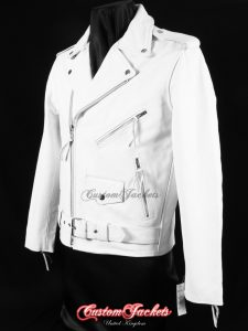 Men's BRANDO White Cowhide Classic Motorcycle Motorbike Biker Cruiser Real Leather Jacket