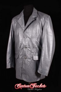 Men's SMART Grey Soft Nappa Lambskin 3 Button Gentlemen Real Leather Blazer