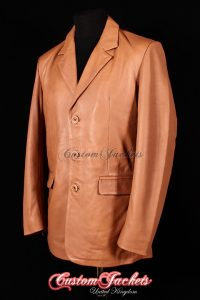 Men's SMART Tan Naked Nappa Lambskin Casual 3 Button Real Genuine Leather Blazer