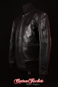Men's MA1 AVIATOR Black Cowhide Harrington Classic Army Military Bomber Pilot Leather Jacket