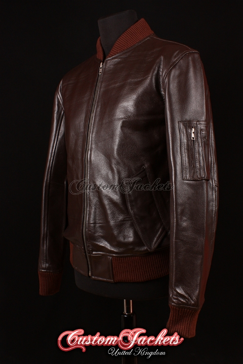 Men's MA1 AVIATOR Brown Cowhide Harrington Classic Army Military Bomber Pilot Leather Jacket