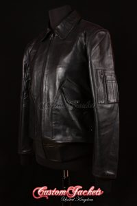 Men's MA2 AVIATOR Black Cowhide USAF Harrington Army Military Bomber Pilot Leather Jacket