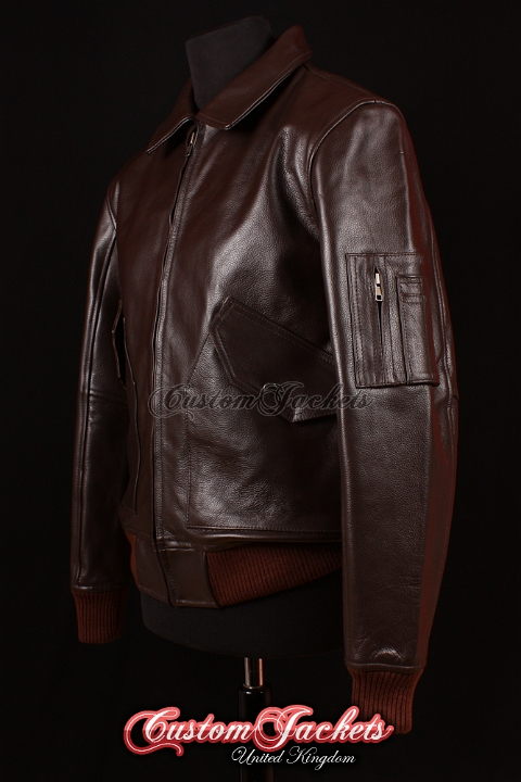 Men's MA2 AVIATOR Brown Cowhide USAF Harrington Army Military Bomber Pilot Leather Jacket