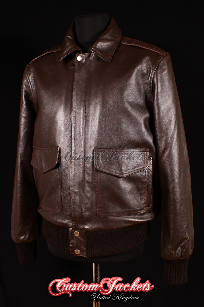 Men's A2 AVIATOR Brown Cowhide Classic Bomber Air Force Real Leather Jacket