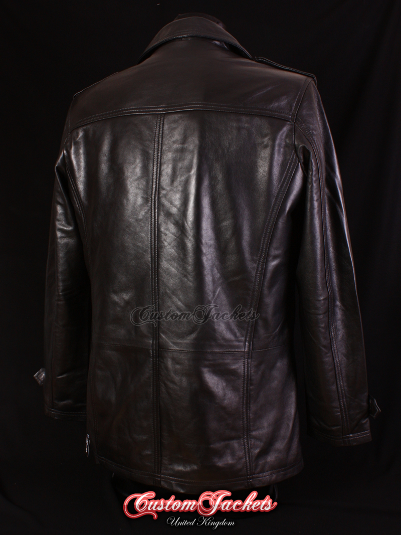 b9a68bebd Men's MOBSTER Black Lambskin Classic Double Breasted Reefer Leather Jacket  Coat