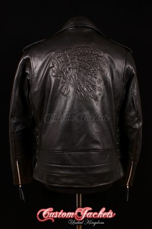 Men's BRANDO RED INDIAN Embossed Black Cowhide Real Leather Classic Motorcycle Biker Jacket