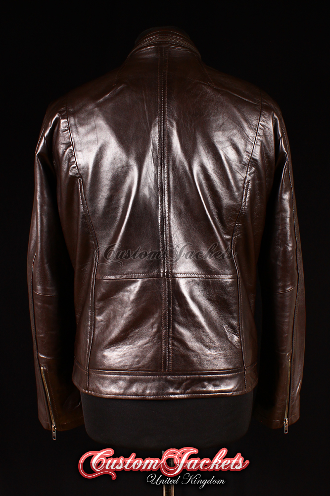 82dccdd45 Men's VENDETTA Brown Washed Lambskin Leather Classic Designer Trucker  Blouson Jacket