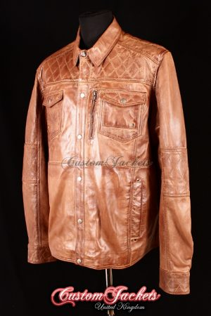 Men's RANGER Tan Washed Lambskin Biker Police Motorcycle Leather Shirt Style Jacket