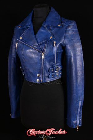 Ladies VOGUE CROPPED Blue Washed Lambskin Leather Short Biker Motorcycle Style Quilted Womens Jacket