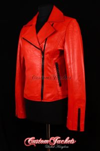 Ladies RAVANA Red Lambskin Black Accent Zips Real Soft Leather Womens Fitted Short Biker Style Jacket