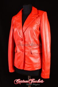 Ladies SOPHIA Red Lambskin Real Leather 2 Button Smart Classic Casual Blazer Blouson Jacket