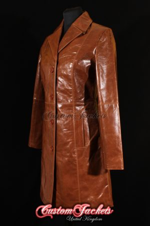Ladies MIDDLETON Tan Glazed Lambskin Leather Smart Simple Casual Long Knee Length Womens Jacket Coat