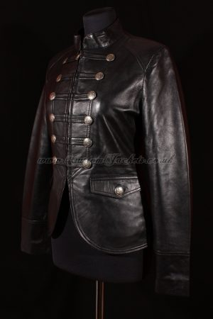 Ladies SHORT MILITARY Black Lambskin Real Genuine Soft Leather Womens Classic Parade Jacket